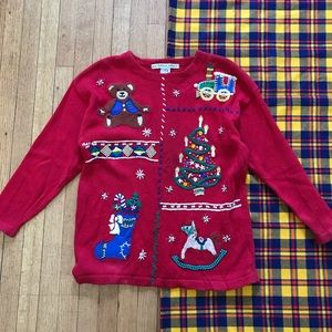 Vintage Ugly Christmas Sweater Red Beaded Teddy